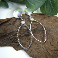 Earrings, Sterling Silver Long Drop Oval Hoops with Cultured Pearls