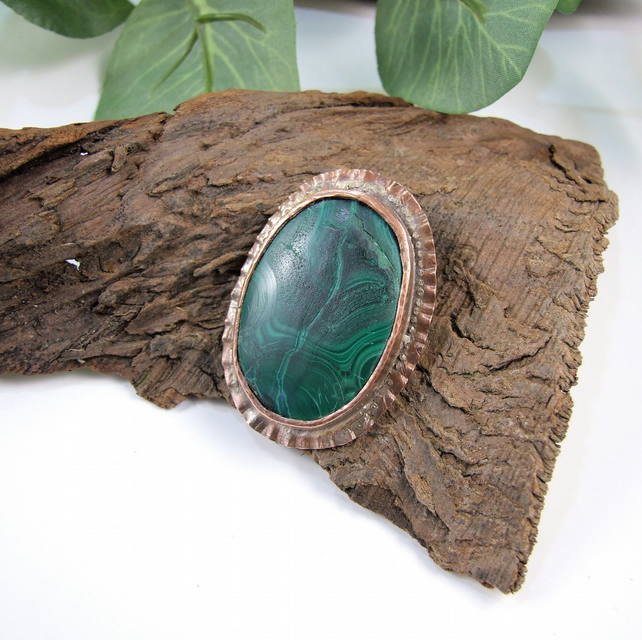 Malachite Brooch,  Arts & Crafts Style, Large Brooch