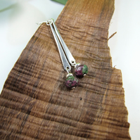 Earrings, Sterling Silver and Ruby Zoisite Long Droppers