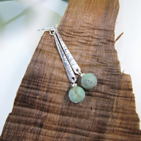 Earrings, Sterling Silver and Turquoise Long Droppers