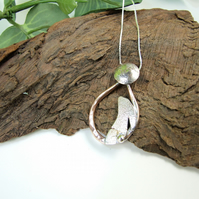 Moon Gazing Hare Necklace, Sterling Silver and Copper