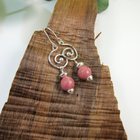 Earrings, Sterling Silver Long Drop with Rhodochrosite Gemstones