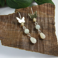 Earrings, Sterling Silver and Brass Butterflies with Citrine, Amazonite & Jade
