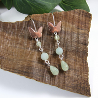 Earrings, Sterling Silver and Copper Butterflies with Prehnite, Amazonite & Jade