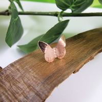 Small Butterfly Lapel Pin Brooch, Copper and Sterling Silver Pin