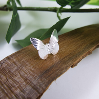 Small Silver Butterfly Lapel Pin Brooch, Sterling Silver Pin