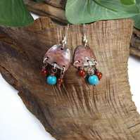 Artisan Earrings, Sterling Silver, Copper, Turquoise and Carnelian