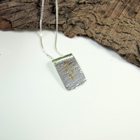 Silver and Gold Pendant, Hammered Silver Oblong Gilded with 24ct Gold