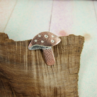 Toadstool Brooch. Copper and Sterling Silver 'Shroom' Lapel Pin