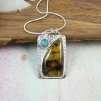 Tiger's Eye and Turquoise Necklace, Sterling Silver with Bezel Set Gemstones