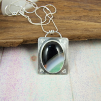 Banded Agate Necklace, Sterling Silver with Green, White & Black Gemstone