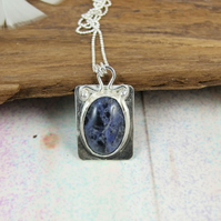 Sodalite Necklace, Sterling Silver with Blue Gemstone