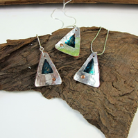 Necklace and Earring Set, Sterling Silver, Copper, Ink & Resin