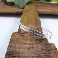 Sterling Silver Adjustable Fit Bangle. Textured Bracelet.