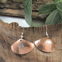 Earrings, Sterling Silver and Copper Fan Dangles. Letter Box Gift