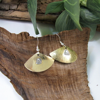Earrings, Sterling Silver and Brass Fan Dangles. Letter Box Gift