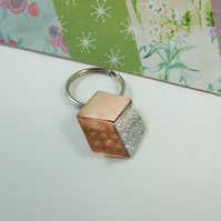 Quilters Keyring, Tumbling Block, Sterling Silver, Copper and Bronze, Bag Charm