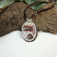 Crazy Lace Agate Necklace on Red Tigers Eye Necklet, Sterling Silver and Copper