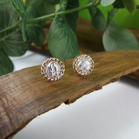 Sterling Silver Round Stud Earrings with Rose Gold Accents
