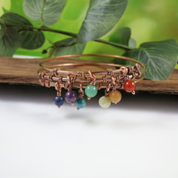 Bangle, Copper with Rainbow Gemstones Wire Wrapped BoHo Bracelet