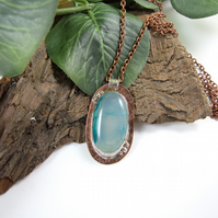 Copper and Sterling Silver Long Arts & Crafts Style Necklace with Blue Agate