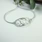 Love & Hugs Bracelet, Sterling Silver Heart and Circles. Adjustable Fit Freesize