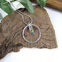 Vesuvianite Necklace, Sterling Silver Gemstone Pendant.