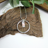 Pink Opal Necklace, Sterling Silver Gemstone Pendant.