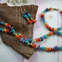 Jewellery Set. Vibrant Mixed Rainbow Gemstone Necklace, Bracelet and Earrings