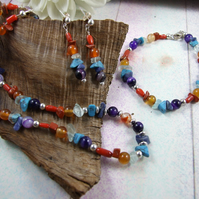 Jewellery Set. Mixed Rainbow Gemstone Necklace, Bracelet and Earrings
