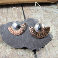 Earrings, Sterling Silver and Copper Fan Long Dangles. Letter Box Gift