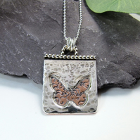 Sterling Silver and Copper Butterfly Pendant