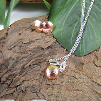 Round Pendant and Earring Set, Sterling Silver and Copper