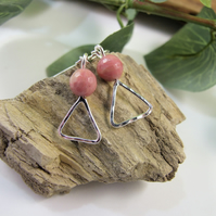 Earrings, Sterling Silver and Rhodochrosite Gemstone Droppers