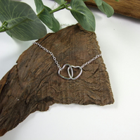 Interlocked Hearts Necklace, Sterling Silver