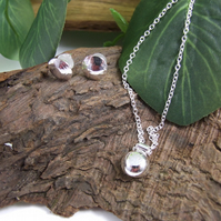 Round Pendant and Earring Set, Sterling and Recycled Silver
