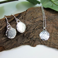 Recyled Silver Nugget Pendant and Earring Set, Sterling and Recycled Silver