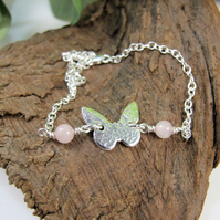 Butterfly Bracelet. Sterling Silver and Rose Quartz Adjustable Fit.