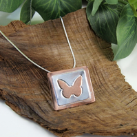 Butterfly Pendant, Sterling Silver and Copper