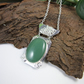 Aventurine Necklace, Sterling Silver Artisan Pendant with Heart Cut Out Detail
