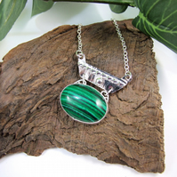 Malachite Necklace, Silver Artisan Pendant with Butterfly Cut Out Detail