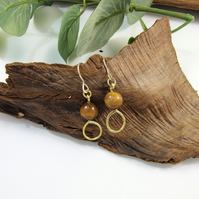 Earrings, Gold Filled and Tiger's Eye Gemstone Droppers