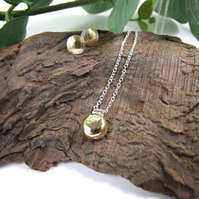 Round Pendant and Earring Set, Sterling Silver and Brass