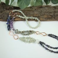 Long Mixed Gemstone Necklace with Copper & Sterling Silver