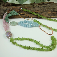 Long Mixed Gemstone Chip Necklace with Copper & Sterling Silver