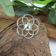 Flower Brooch. Sterling Silver Flower Design Pin Brooch