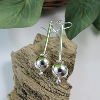 Earrings, Sterling Silver 10mm Silver Sphere and Stick Droppers