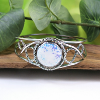Sterling Silver Twisted Filigree Bangle with Turquoise and Purple Howlite.