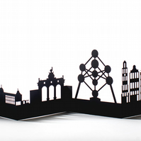Brussels Cityscape, Silhouette, Skyline Card