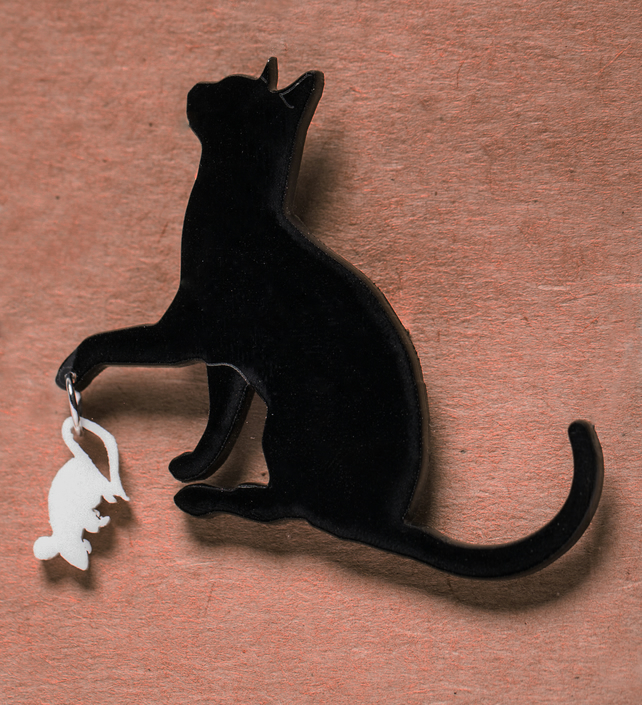 Acrylic Cat and Mouse Brooch